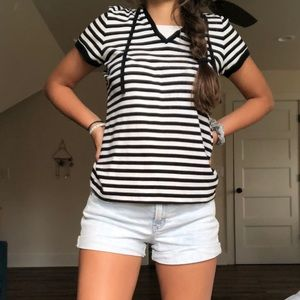 Tops - striped top with hood in the back